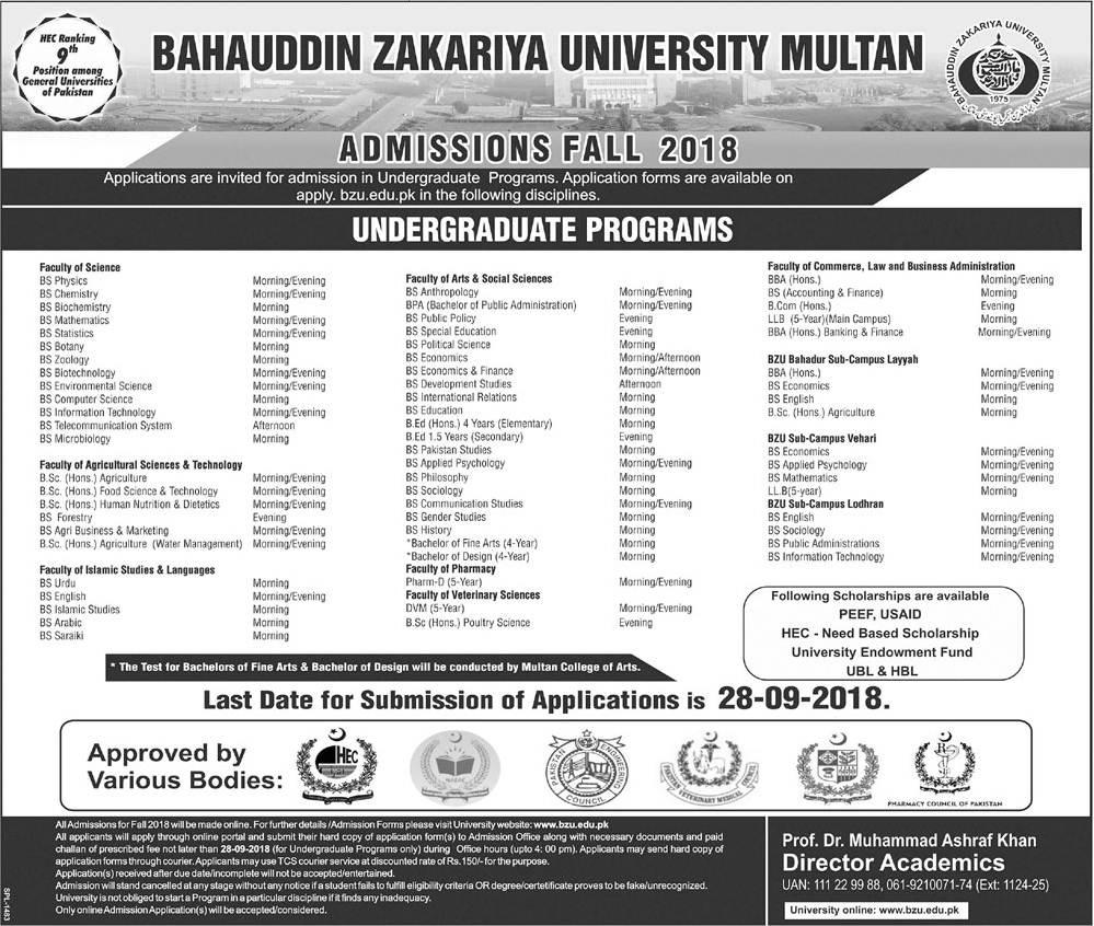 BZU Multan Undergraduate Admissions 2018-19