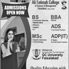 Ali Fatimah College Faisalabad Admission 2020