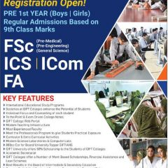 Gift Group of Colleges 1st Year (FA, FSc, ICom, ICS) Admission 2020