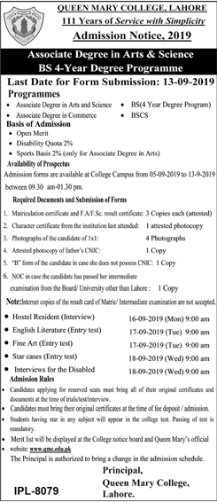 Queen Marry College ADP BA, BSc, BCom, BSCS, BS Admission 2019 & Entry Test Result