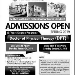 Shifa Tameer-e-Millat University DPT Admission 2020