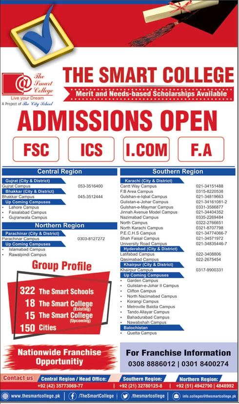 The Smart College FSc, ICS, ICom & FA Admission 2020 & Scholarships