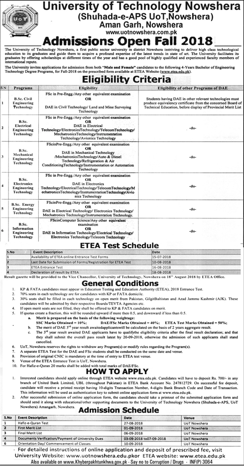 University of Technology Nowshera Admission 2018, ETEA Test Schedule