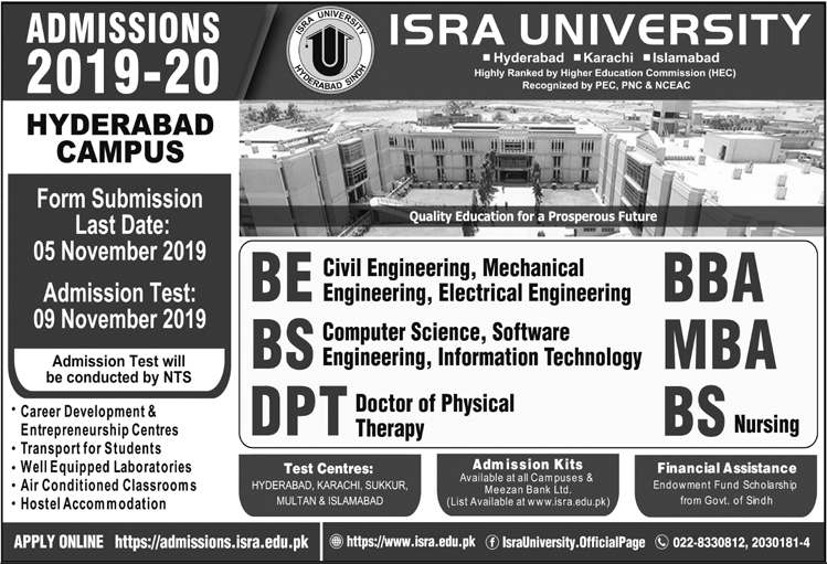 Isra University BE, BS, DPT, MBA & BBA Admission 2019