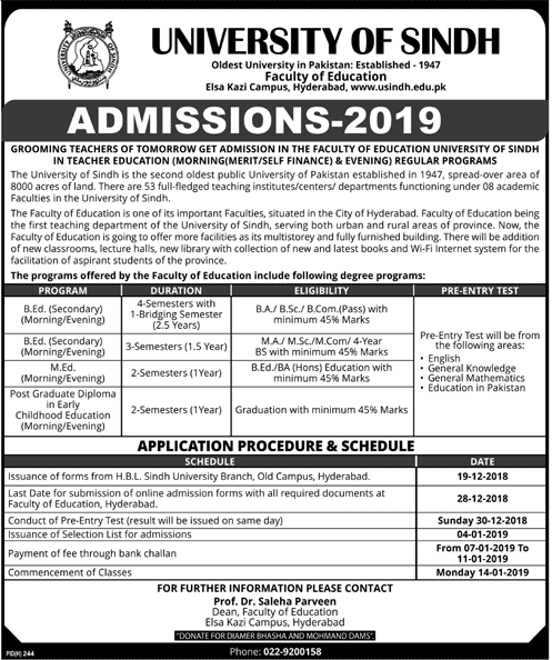 University of Sindh Spring Admission 2019-20, Faculty of Education