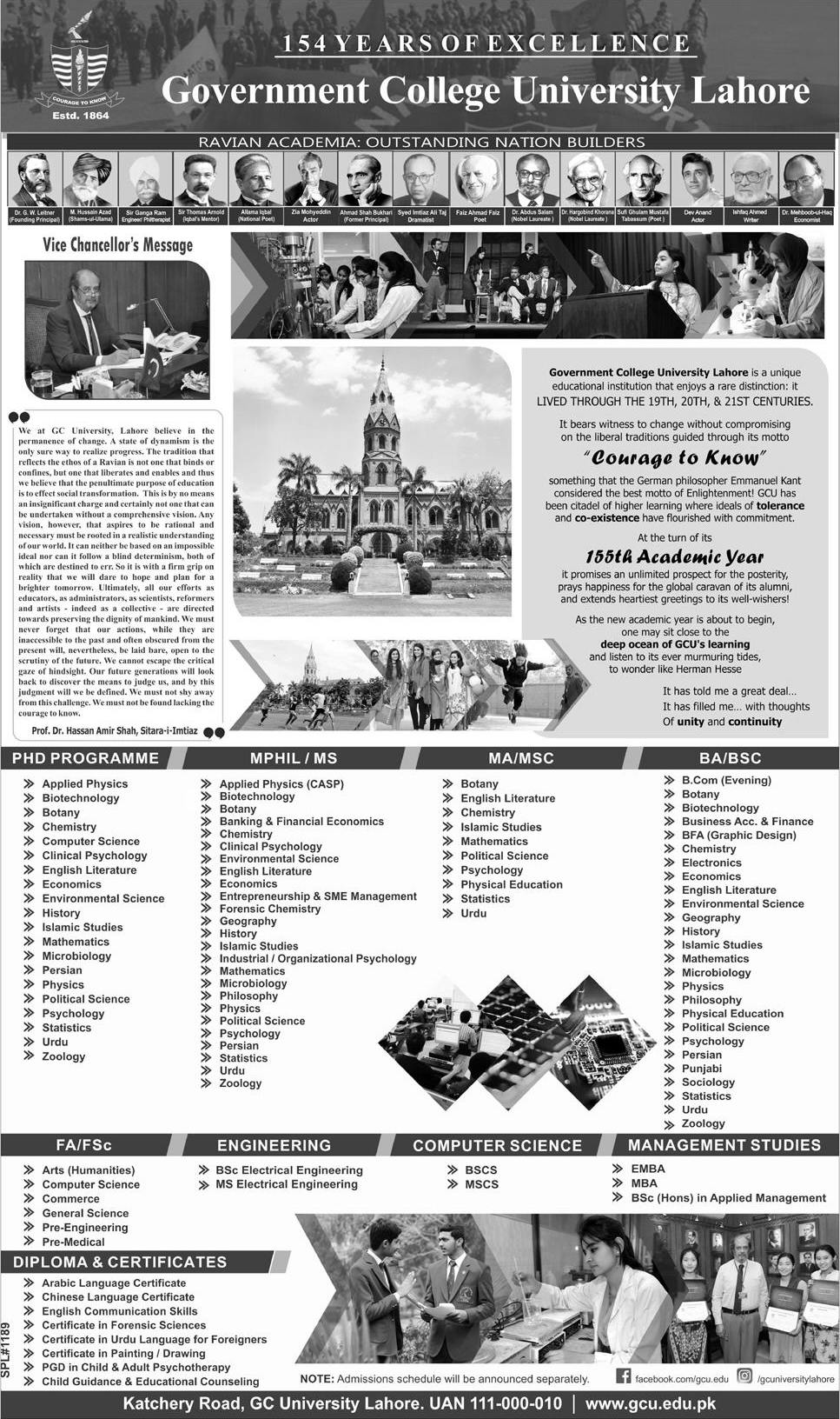 GC University Lahore List of All Programs For Admission 2018