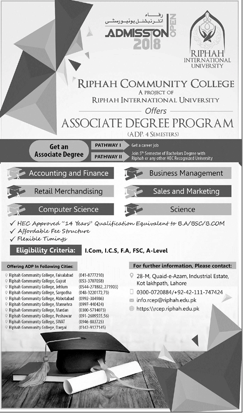Riphah Community College Lahore Admission 2018 in Associate Degree ADP Programs
