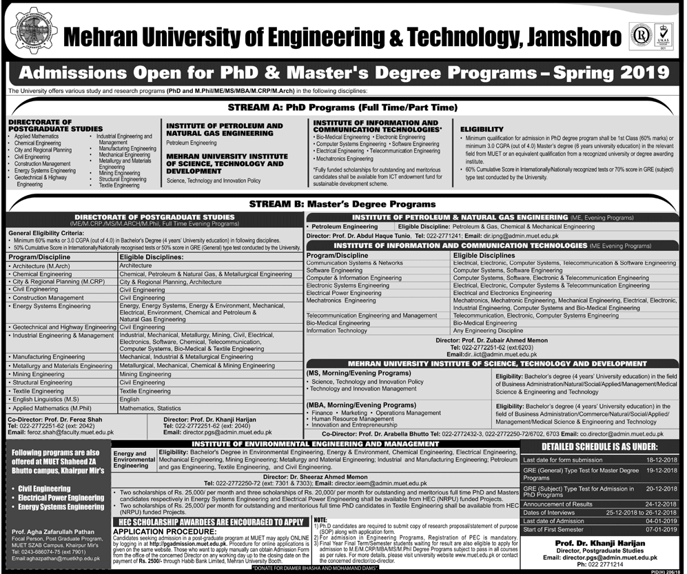 Mehran University of Engineering and Technology Masters & PhD Admission 2019