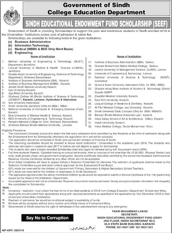 Sindh Educational Endowment Fund SEEF Scholarships 2018 College Education Dept