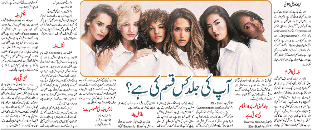 Skin Types & Care-Normal, Dry, Oily, Combination, Sensitive (Urdu-English)