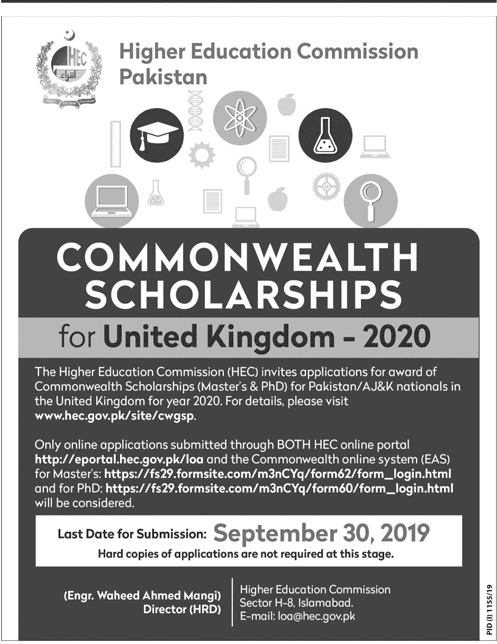 HEC Commonwealth Scholarships 2020 For PhD in UK