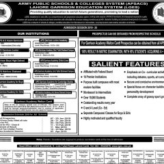 Army Public Schools & Colleges Admission 2020, Form & Test Result
