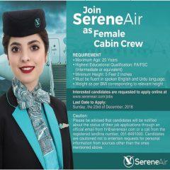 Join Serene Air As Female Cabin Crew 2018, (Serene Airline Air Hostess Jobs)
