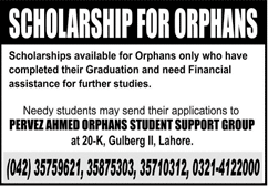 Scholarships 2020 For Orphans in Pakistan