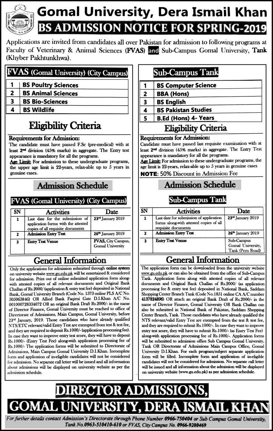 Gomal University BS Admission 2019 in Spring Semester