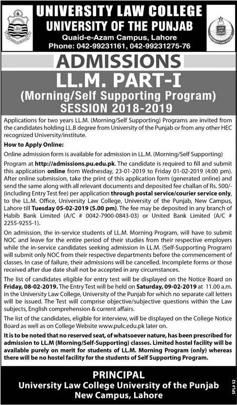 Punjab University Law College Lahore LLM Admission 2019