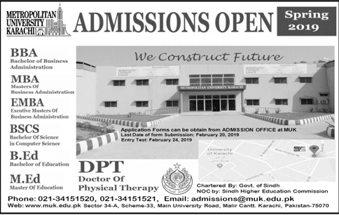 Metropolitan University Karachi Admission 2019, Last Date, Test Result