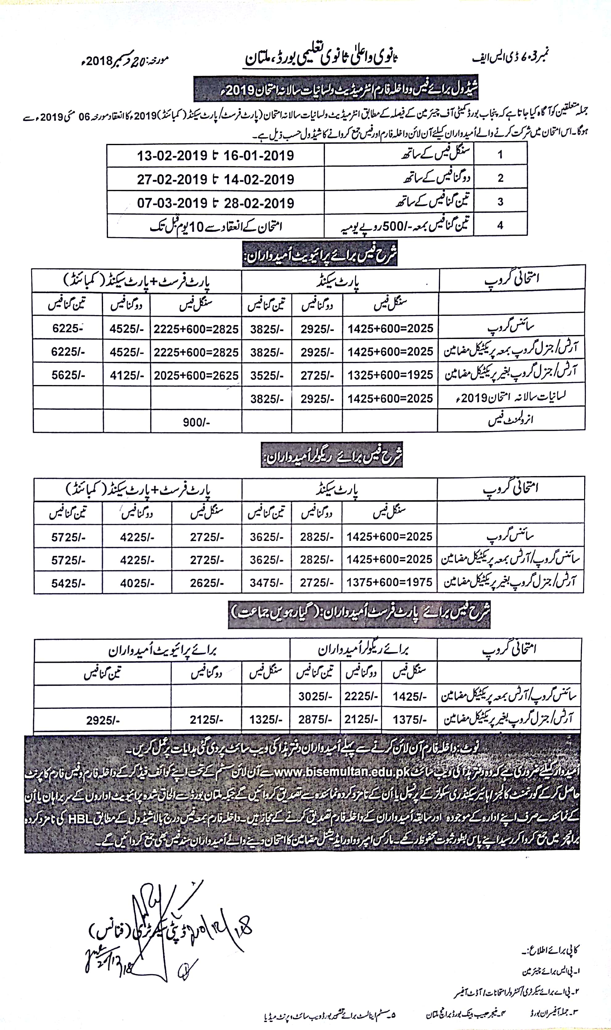 Multan Board Inter Admission Form 2019, Fee, Schedule FA, FSc, ICom, ICS