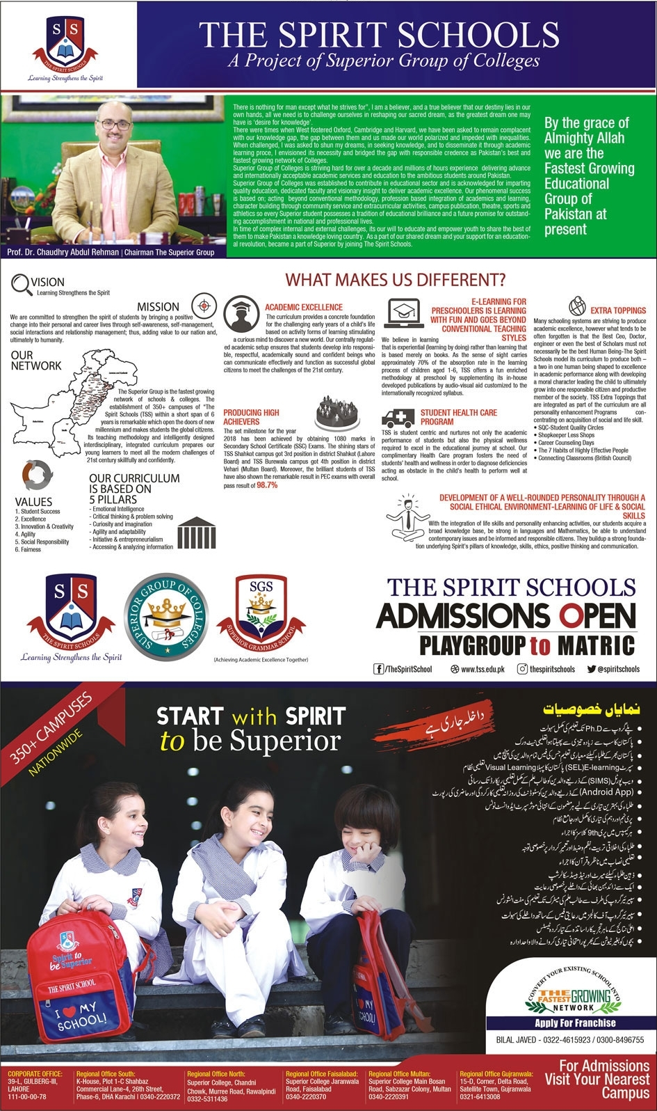 The Spirit School Admission 2020 in Play Group to 9th, Form, Fee