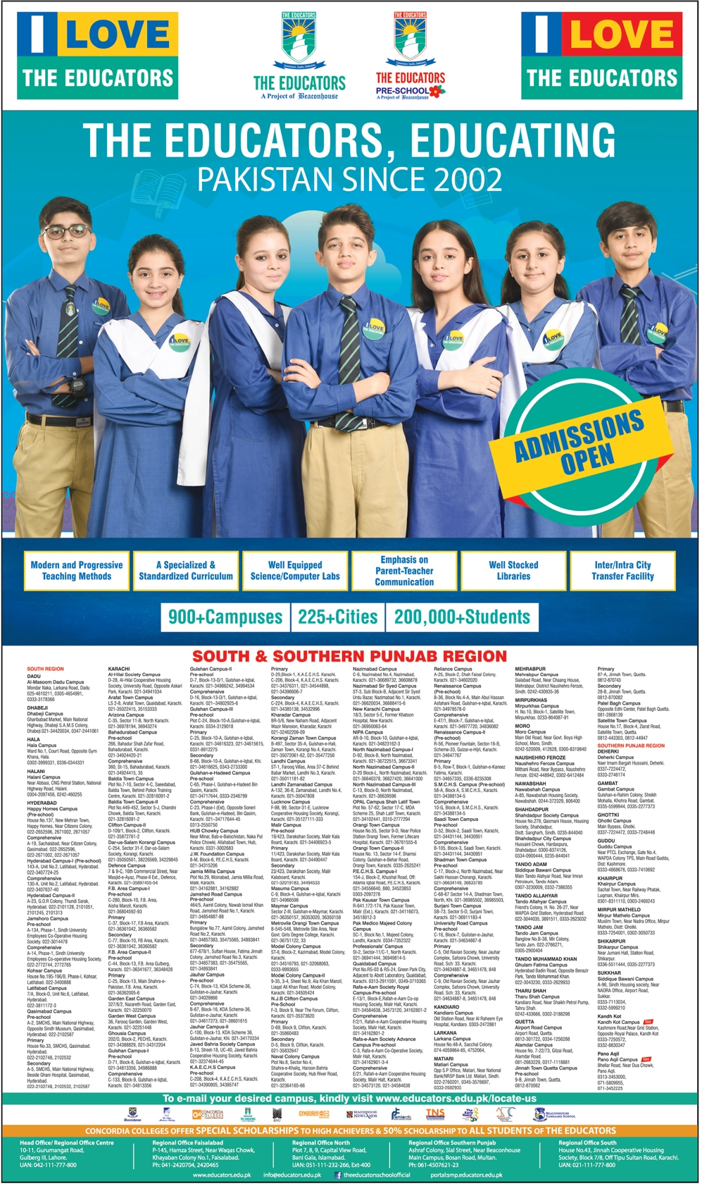 The Educators School Admission 2019 Play Group to Matric, Fee, Form