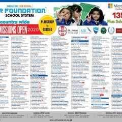 Air Foundation School System Admission 2021 in PG to Matric