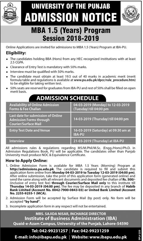 Punjab University Lahore Admission 2019 in MBA 1.5 Years Program