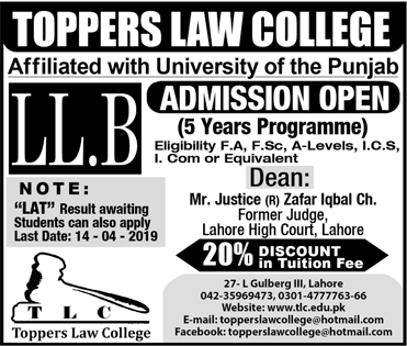 Toppers Law College Lahore LLB Admission 2020, Scholarships
