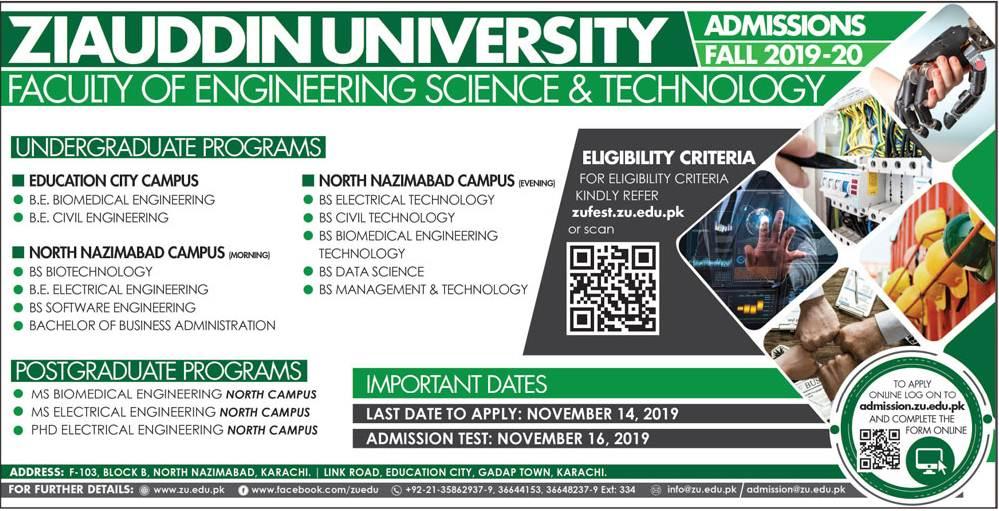 Biomedical Engineering Admission in Ziauddin University 2019