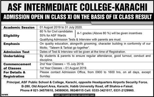 ASF College Karachi FSc, ICS Admission 2019-20