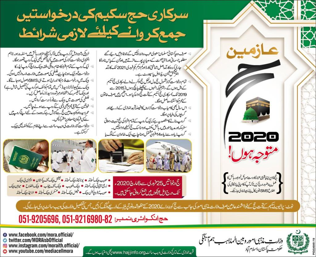 Hajj Application Form 2020, Instructions In Urdu