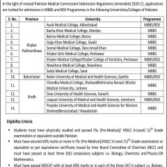 MBBS, BDS, BSc Engr Admission 2021 For Foreigners & Dual Nationals in Pakistan