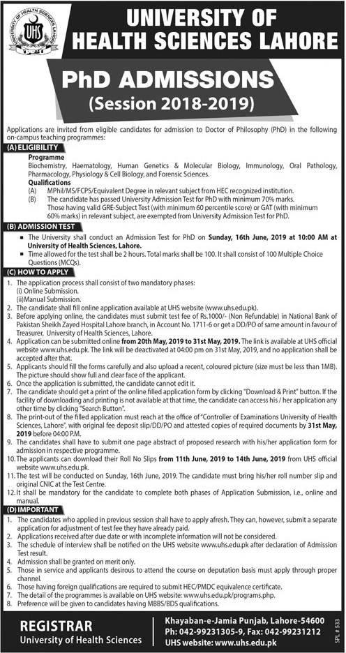 University of Health Sciences UHS Lahore PhD Admission 2019, Form, Test Result