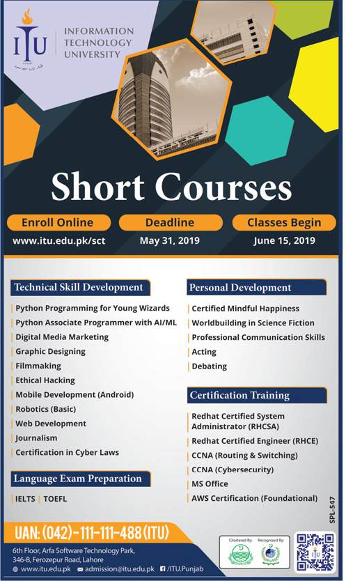 Information Technology University ITU Lahore Admission 2019 in Short Courses