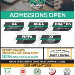 Al Hamd Academy Admission 2020 in CA, PIPFA, ACCA, BBA, BS & 1st Year