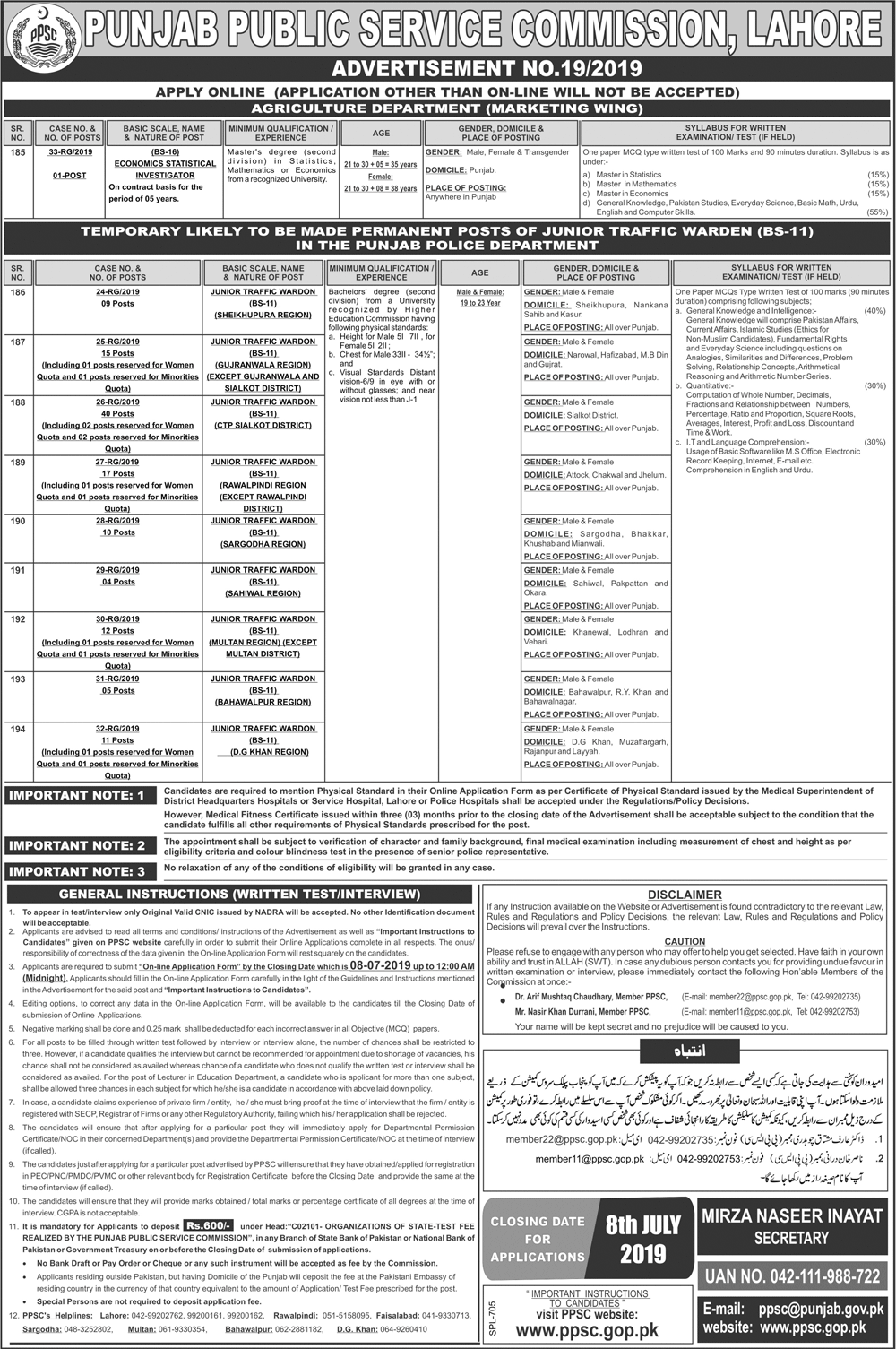 PPSC Announces Punjab Police Jobs 2019 of Junior Traffic Warden