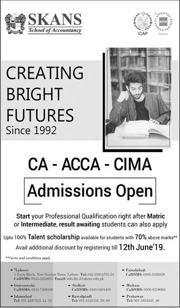 Skans School of Accountancy Admission 2019 in CA, ACCA & CIMA, Scholarships