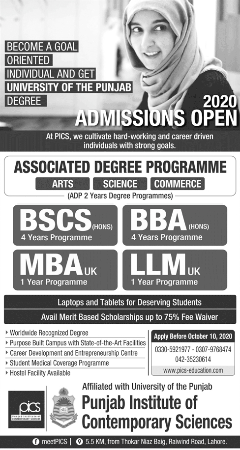 PICS Admission in ADP, LLM, Computer Science & Business Administration 2020