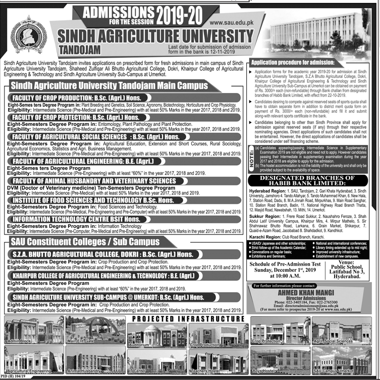 Sindh Agriculture University Tandojam Admission 2019, Merit List