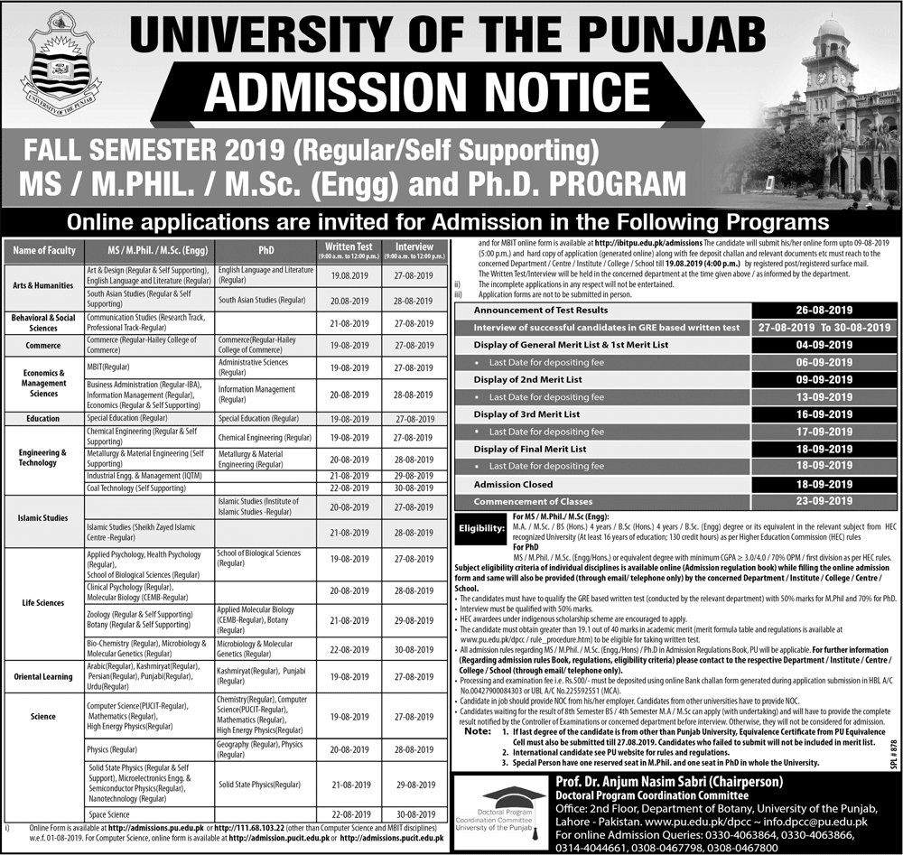 Punjab University PU Admission in MS, M.Phil, M.Sc & PhD 2019