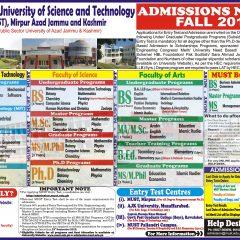 Must University Mirpur AJK Admission 2019, Apply Online, Test Result & Merit List