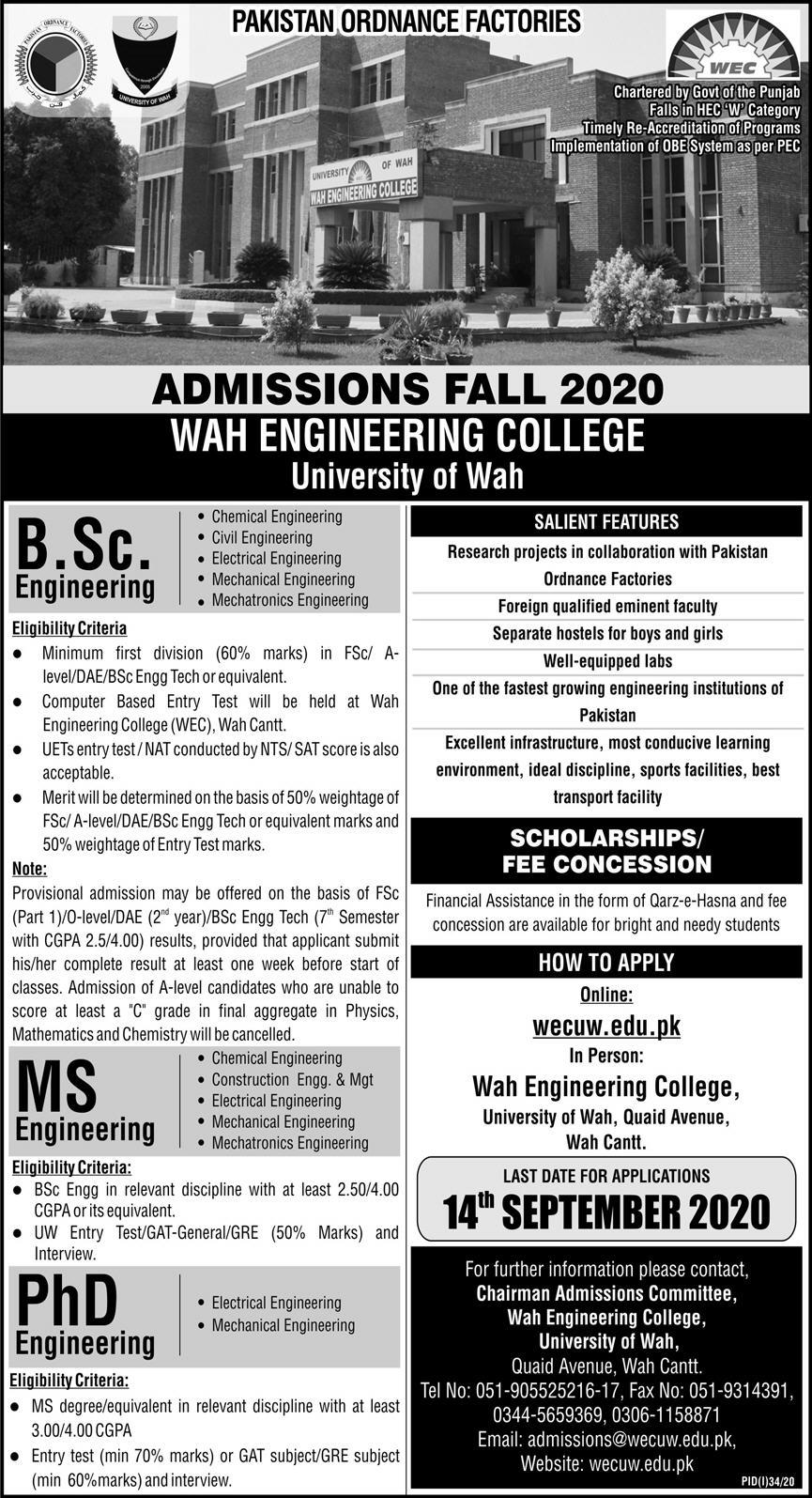 Wah Engineering College UOW BSc Engg, MS & PhD Admission 2020