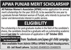 APWA Punjab Merit Scholarship 2019, Download Form