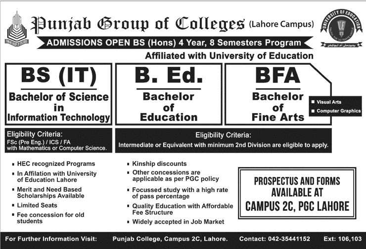 Punjab College Lahore Admission 2019 in BEd, BFA & BS (IT) Programs