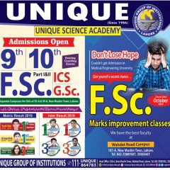 Unique Science Academy Lahore Admission 2021, Campuses, Fee