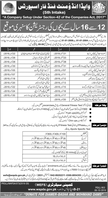 WAPDA Endowment Fund for Sports WEFS Registration 2019-20, Scholarship Form