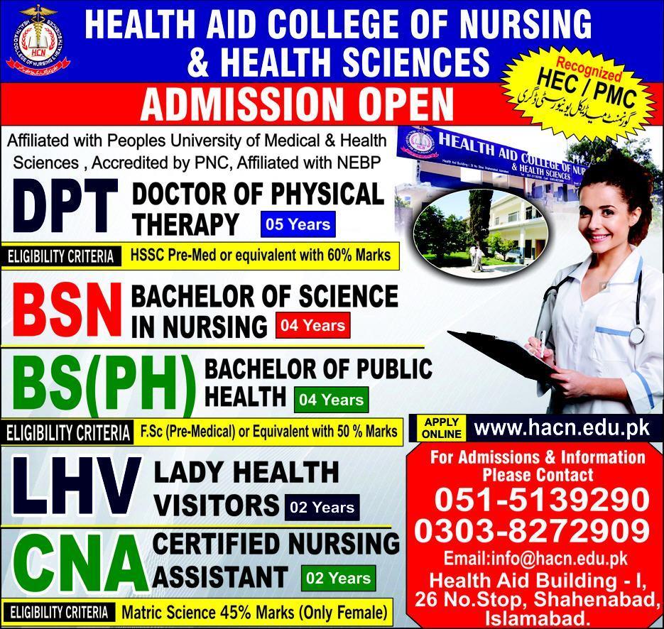 Health Aid College of Nursing & Health Sciences Islamabad Admission 2021