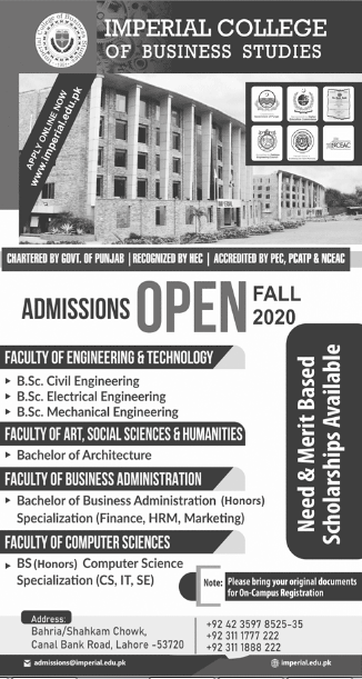 Imperial College of Business Studies ICBS Lahore Admission 2020, Apply Online