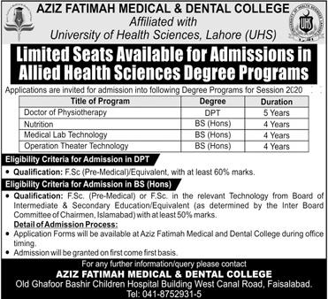 Aziz Fatimah Medical & Dental College AFMDC Admission 2020 in DPT & BS Hons