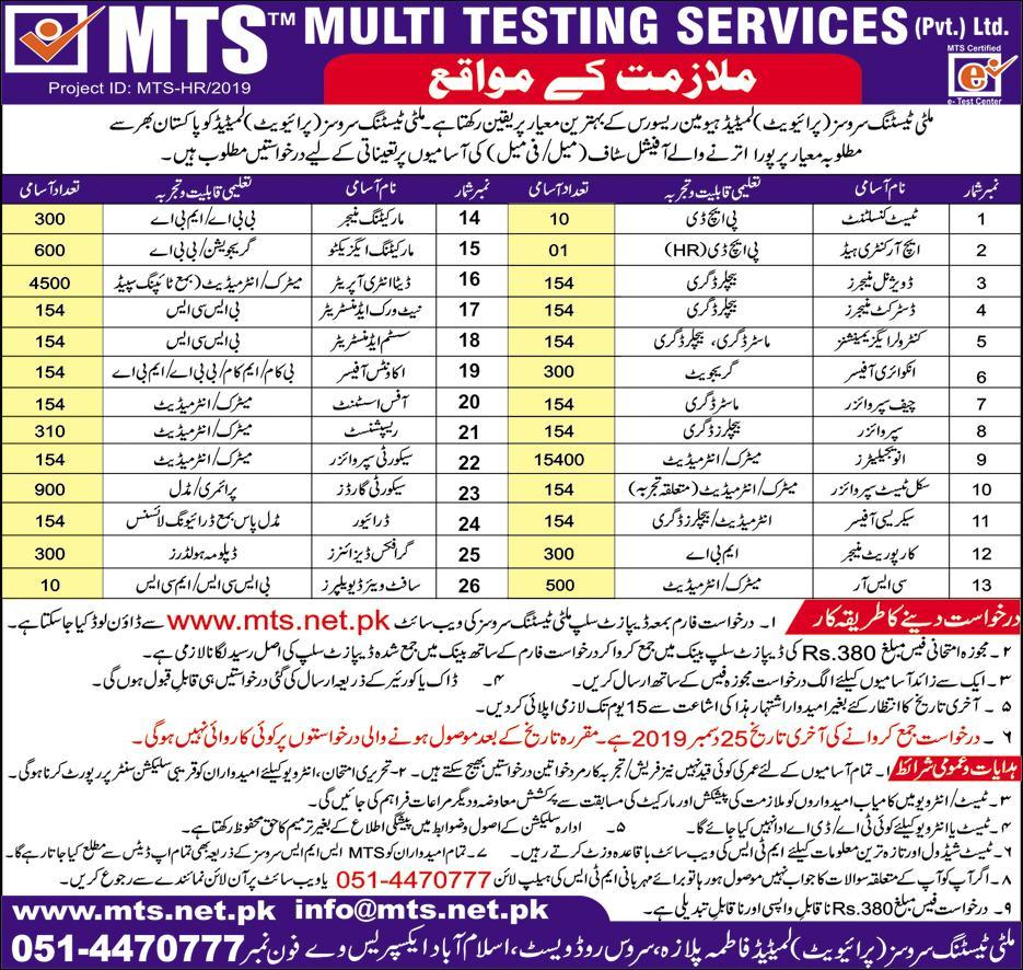 Multi Testing Services MTS Jobs 2020, Ads, Apply Online