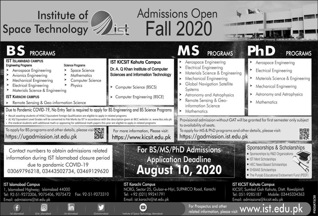Institute of Space Technology Islamabad Admission 2020-Application Procedure
